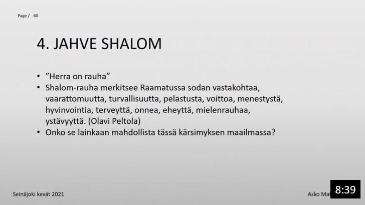 Osa 7 - Jumalan nimi: JAHVE SHALOM
